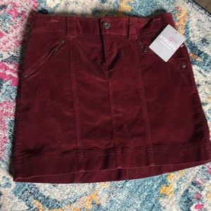 Burgundy maroon velvet ATHLETA mini skirt NWT
